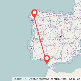 Mapa del viaje Cádiz Santiago de Compostela en bus