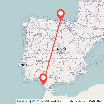 Mapa del viaje Cádiz Santander en bus