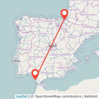 Mapa del viaje Cádiz San Sebastián en bus