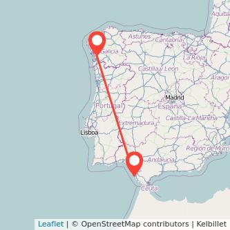 Mapa del viaje Cádiz Pontevedra en bus