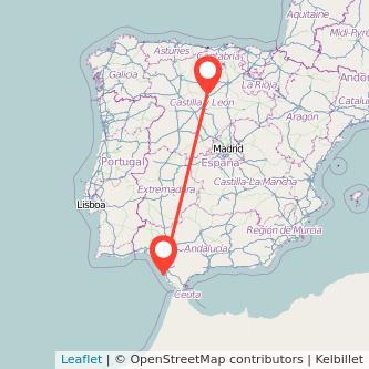 Mapa del viaje Cádiz Palencia en tren