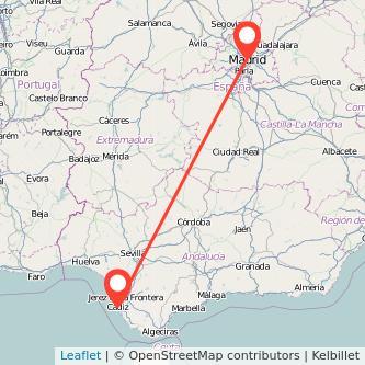 Mapa del viaje Cádiz Madrid en bus