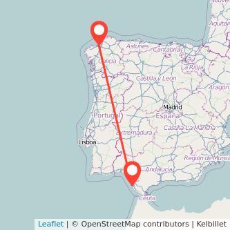 Mapa del viaje Cádiz A Coruña en bus