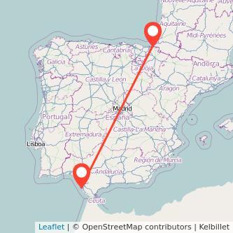 Mapa del viaje Cádiz Irún en bus