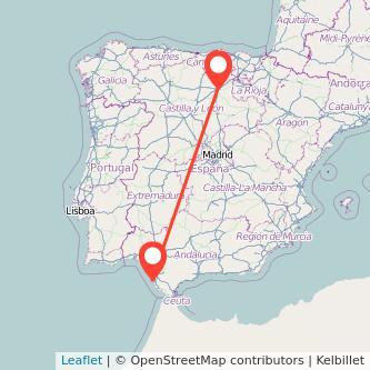 Mapa del viaje Cádiz Burgos en bus