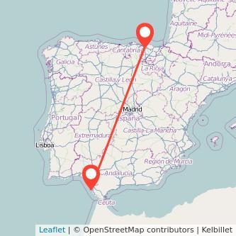 Mapa del viaje Cádiz Bilbao en tren