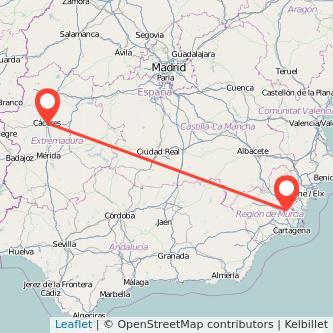 Mapa del viaje Cáceres Murcia en bus