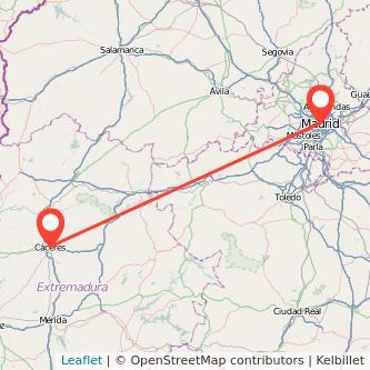 Mapa del viaje Cáceres Madrid en bus