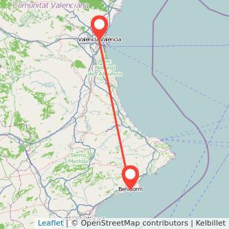 Mapa del viaje Benidorm Valencia en bus