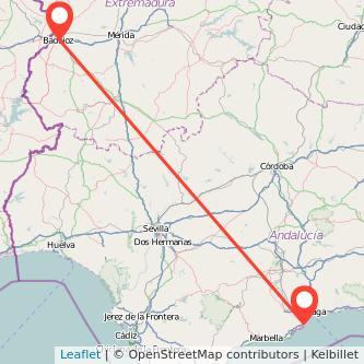 Mapa del viaje Badajoz Torremolinos en bus