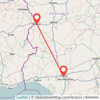 Mapa del viaje Badajoz Sevilla en bus
