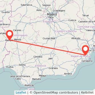 Mapa del viaje Badajoz Murcia en bus