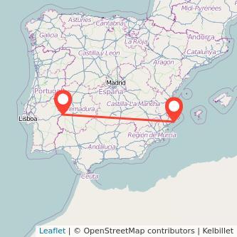 Mapa del viaje Badajoz Benidorm en bus