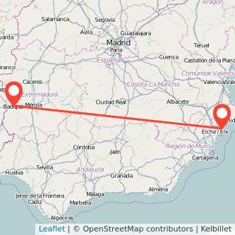 Mapa del viaje Badajoz Alicante en bus