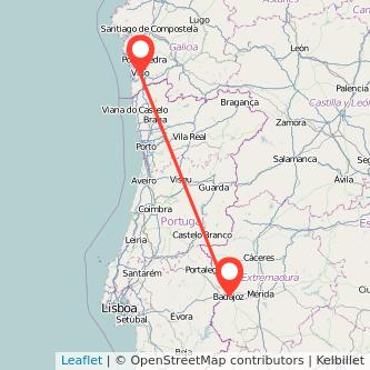 Mapa del viaje Badajoz Vigo en tren