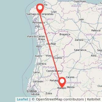 Mapa del viaje Badajoz Santiago de Compostela en bus