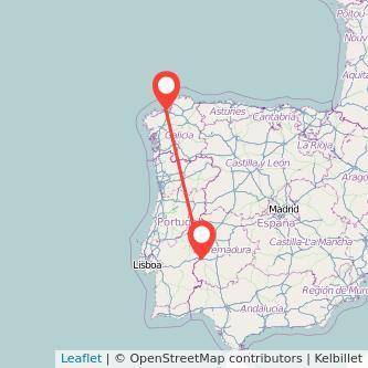 Mapa del viaje Badajoz A Coruña en bus