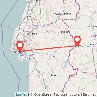 Mapa del viaje Badajoz Lisboa en bus
