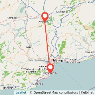 Mapa del viaje Antequera Torremolinos en bus