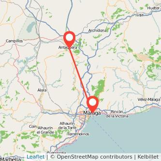 Mapa del viaje Antequera Málaga en bus