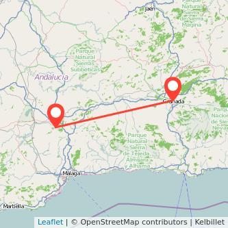 Mapa del viaje Antequera Granada en bus