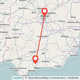 Mapa del viaje Antequera Madrid en bus
