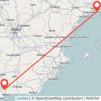 Mapa del viaje Antequera Barcelona en bus
