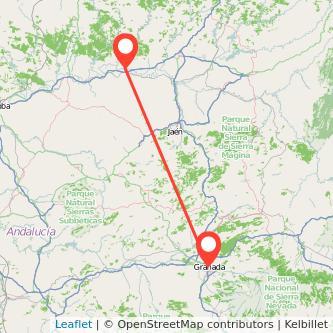 Mapa del viaje Andújar Granada en bus