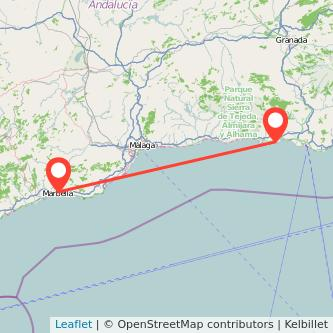 Mapa del viaje Almuñécar Marbella en bus