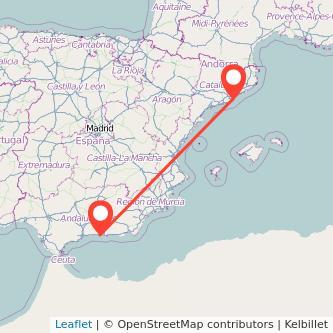 Mapa del viaje Almuñécar Barcelona en bus