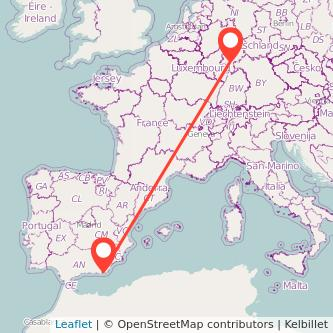 Mapa del viaje Almería Frankfurt en bus