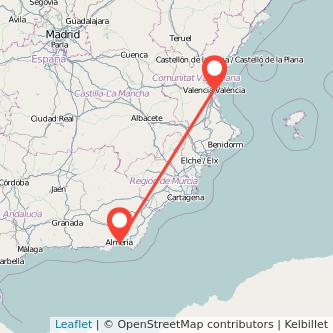 Mapa del viaje Almería Valencia en tren