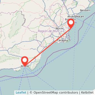 Mapa del viaje Almería Torrevieja en bus