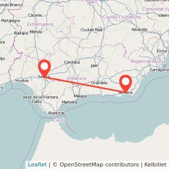 Mapa del viaje Almería Sevilla en tren