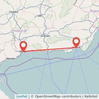 Mapa del viaje Almería Málaga en bus