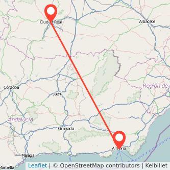 Mapa del viaje Almería Ciudad Real en bus