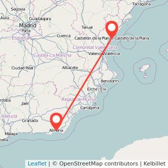Mapa del viaje Almería Castellón en tren
