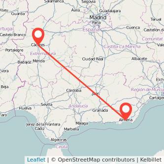 Mapa del viaje Almería Cáceres en bus