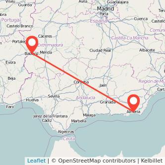 Mapa del viaje Almería Badajoz en bus