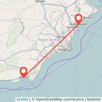 Mapa del viaje Almería Alicante en bus