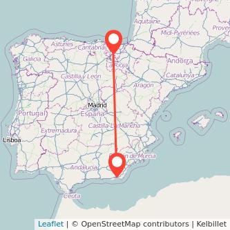 Mapa del viaje Almería Vitoria-Gasteiz en bus