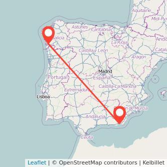 Mapa del viaje Almería Vigo en bus