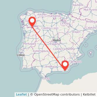 Mapa del viaje Almería Verín en bus
