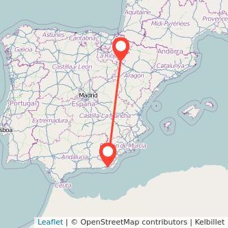 Mapa del viaje Almería Tudela en bus