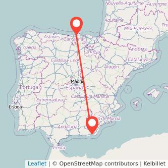 Mapa del viaje Almería Santander en bus