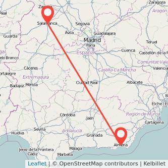 Mapa del viaje Almería Salamanca en bus