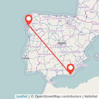 Mapa del viaje Almería Pontevedra en bus