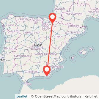 Mapa del viaje Almería Pamplona en tren