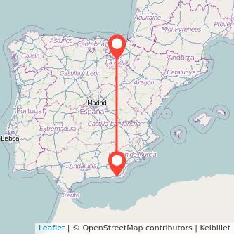 Mapa del viaje Almería Logroño en bus