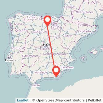 Mapa del viaje Almería Burgos en tren